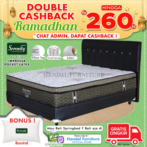 Foto Produk Serenity Set Kasur Spring Bed Impressa Pocket Latex 160x200 dari Handal Furniture