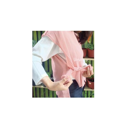 Foto Produk Rompi Rajut Rompi Tali Wanita Polos Vest Knit Outer / OOTD ROMPI - DUSTY PINK dari Gloryclassy