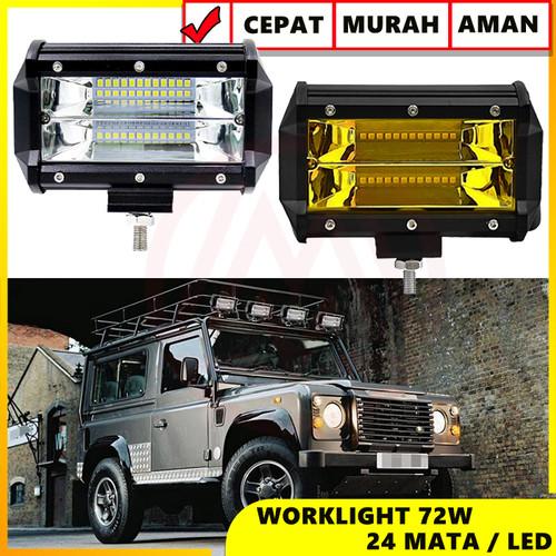 Foto Produk LAMPU TEMBAK SOROT LED BAR CREE CWL 24 MATA 2 SUSUN LED MOBIL - Kuning dari Modifikasi Market