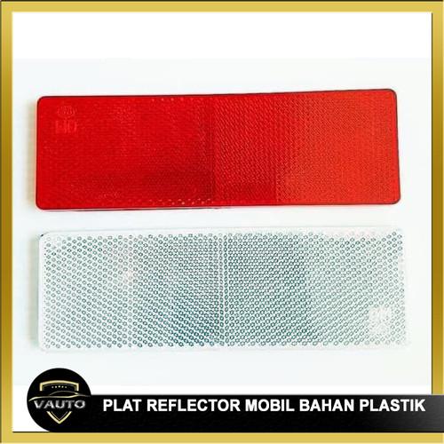 Foto Produk Plat Reflektor Bahan Plastik Kuat Mobil / Truk Stiker Reflektor - Merah dari vauto