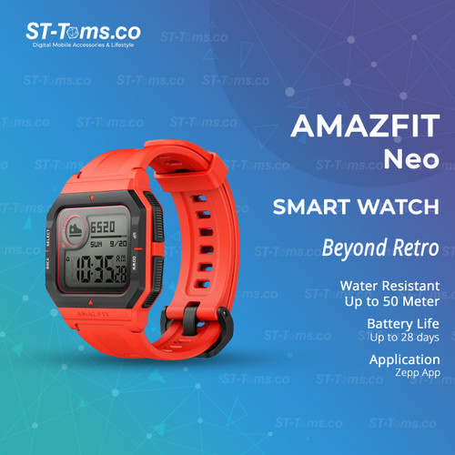 Foto Produk Amazfit Neo Smartwatch Amazfit Waterproof 5ATM For Android & iOS - Red dari ST-Toms.co