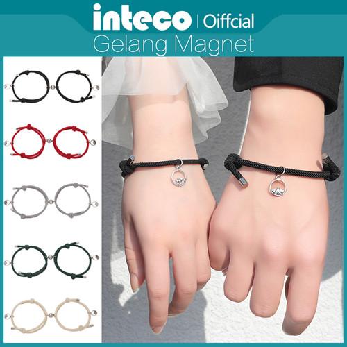 Foto Produk Gelang Couple Magnet Hitam Perjanjian Adjustable/Gelang persahabatan - Sea, Biru dari Inteco Official Shop