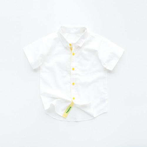 Foto Produk HEYTIMMY Kemeja Anak Lengan Pendek Warna Putih Polos Mateo Shirt - 2-3 tahun dari HEYTIMMY