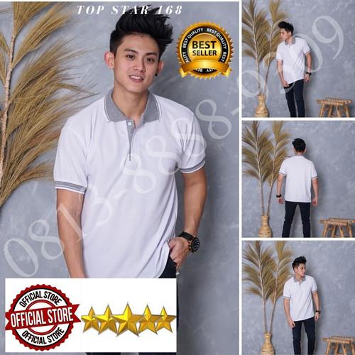 Foto Produk Kaos Polo Shirt Polos Putih kerah abu/kaos kerah pria/baju kaos kerah - Putih kerah abu, S dari Top Star 168