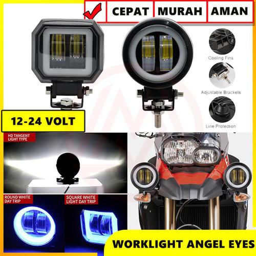 Foto Produk WORK LIGHT LAMPU TEMBAK SOROT LED CWL 2 MATA LENSA 4D CREE 20W 12-24V - BULAT dari Modifikasi Market