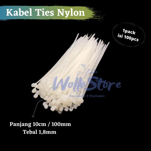 Foto Produk Kabel Ties Putih 10cm/ 15cm /20cm /25cm /30cm Harga 1Pack isi 100pcs - Putih 10cm dari WolloStore