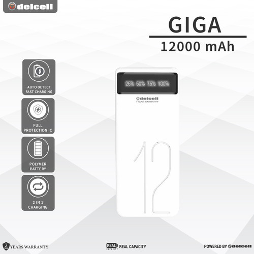 Foto Produk Delcell 12000mAh Powerbank GIGA Real Capacity - Digital Display dari DelCell