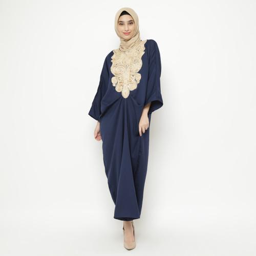 Foto Produk Eiza by duapola Baju Dress Muslim Crepe Gold Lace Kaftan 9889 - Navy dari Eiza