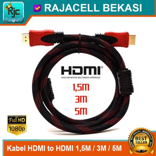 Foto Produk Kabel HDMI to HDMI 1080 Full HD 1.5M 3M 5M Gold HDTV Cable Ver 1.4 dari RAJACELL BEKASI