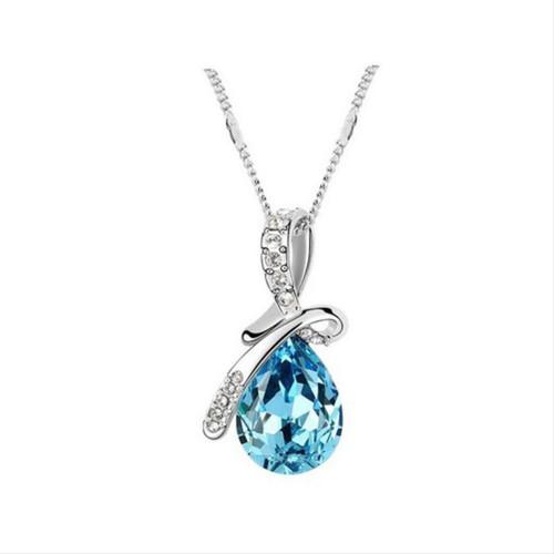 Foto Produk Tiaria Aksesoris Kalung Perak Wanita Blue Teal Silver Color VN002-BL dari Tiaria Accessories
