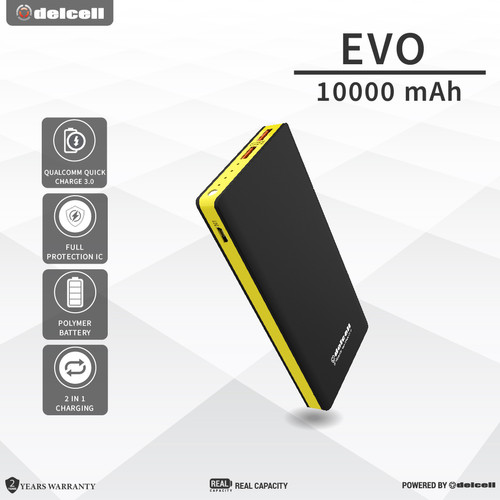 Foto Produk Delcell 10000mAh Powerbank EVO QuickCharge 3.0A Real Capacity Polymer dari DelCell