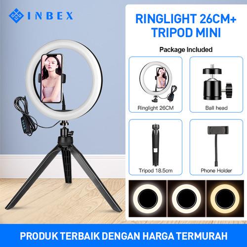 Foto Produk INBEX Paket 20CM Ring Light with 18cm Mini Tripod for VLOG Youtuber - 16cm light kit dari INBEX Official Store