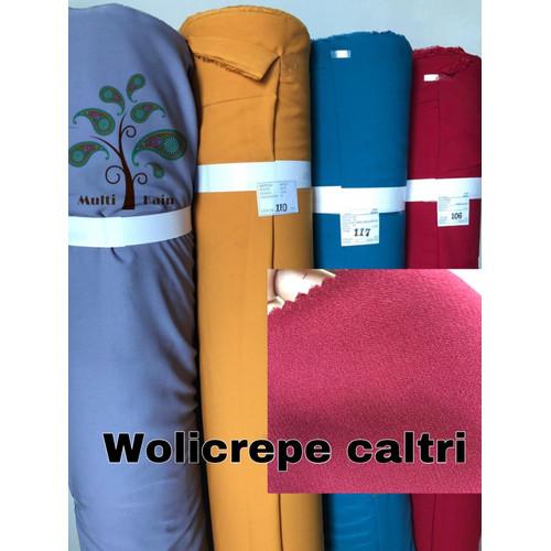 Foto Produk bahan kain wollycrepe wolicrepe wollicrepe super caltri polos meteran - 3115 hitam dari multi kain