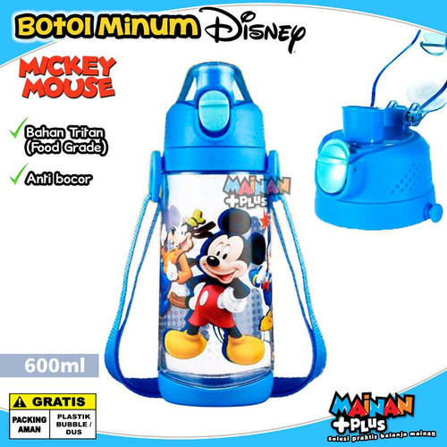 Foto Produk BOTOL MINUM ANAK DISNEY ORIGINAL STRAP TRITAN FOOD GRADE BPA FREE - MICKEY dari MainanPlus