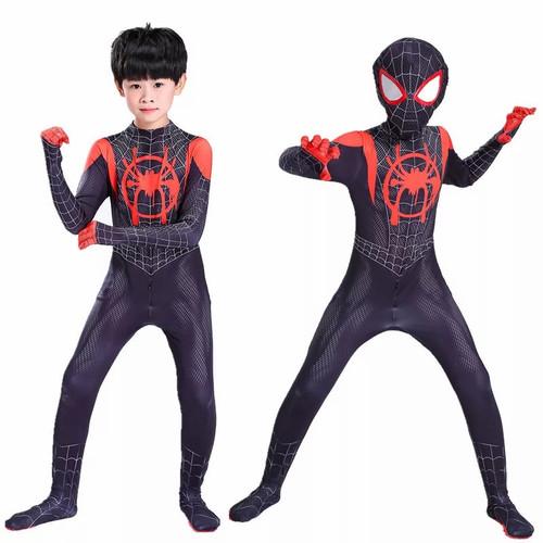 Foto Produk Kostum Spiderman Anak Miles Morales Superhero Super man Hitam Black - L dari Mellyphang