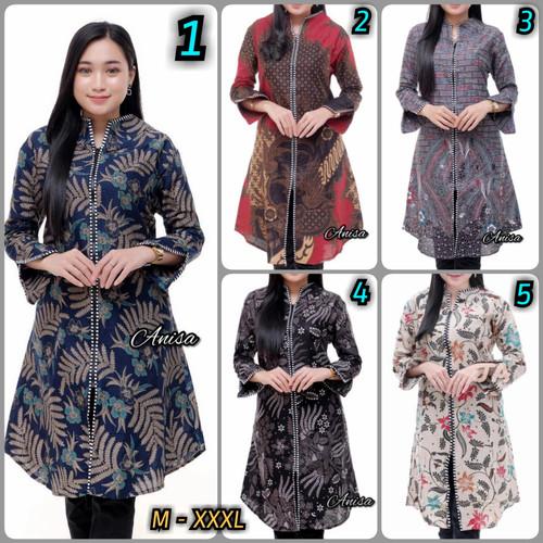 Foto Produk Batik Wanita Tunik Batik Wanita Zipper Ada Ld 120 Model Terbaru - M dari Juragan Batik Official