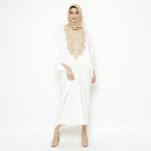 Foto Produk Eiza by duapola Baju Dress Muslim Crepe Gold Lace Kaftan 9889 - White dari Eiza