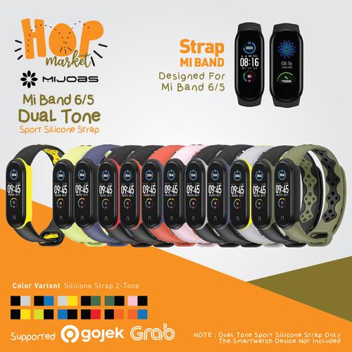 Foto Produk MIJOBS SPORTS DUAL TONE Strap XIAOMI MI BAND 6 5 Silicone Tali Silikon - GREEN BLACK dari HOP Market