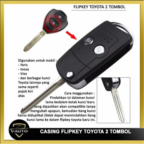 Foto Produk Casing Kunci Lipat Flip Key 2 Tombol Mobil TOYOTA Innova Vios Yaris dari vauto
