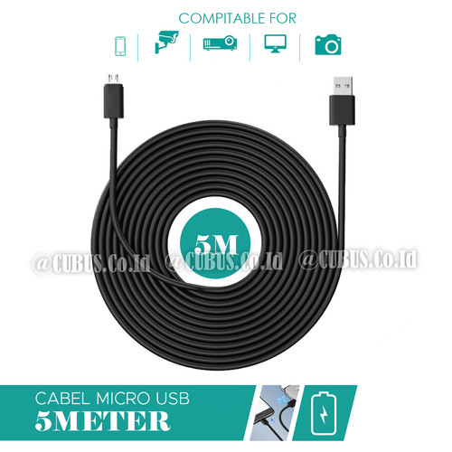 Foto Produk Cable/Kabel Micro USB 5 Meter Cable Power For IP Camera,Action Cam - Hitam dari Cubus_Co_ID