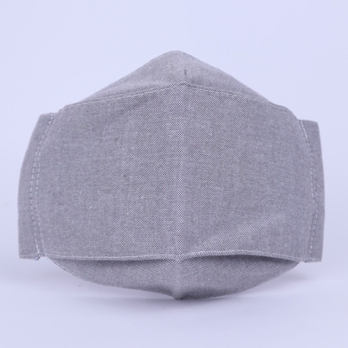 Foto Produk Masker 3D 3 ply Kain Katun Seri OXFORD Reusable Earloop Headloop - Grey, Headloop dari Trivi_Shop