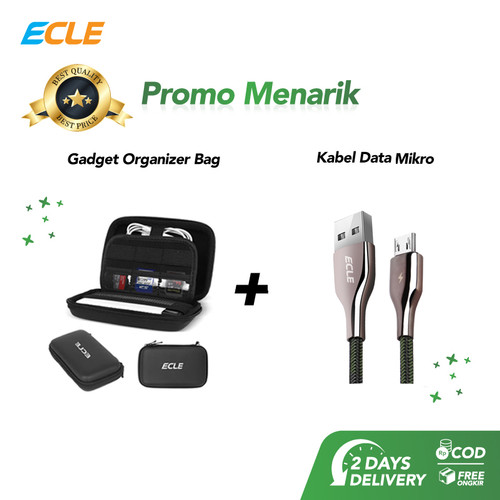 Foto Produk [BUNDLING] Hard Case Gadget Bag + Kabel Charger Micro USB Fast Charge dari ECLE Official Store