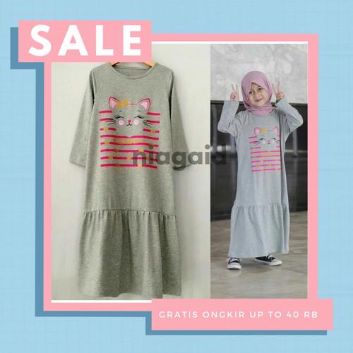 Foto Produk Gamis Baju Busana Muslim Kaos Sablon Anak Perempuan 2 3 4 5 6 7 8 Thn - Abu-abu, size2 dari niagaid
