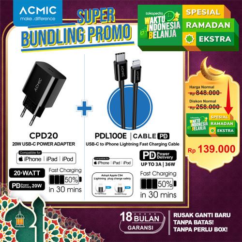 Foto Produk [Bundle] ACMIC CPD20 + ACMIC PDL100e USB Type C to Lightning iPhone - Hitam dari ACMIC Official Store