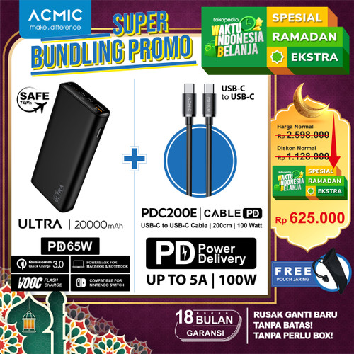 Foto Produk ACMIC ULTRA 65W USB-C PD PowerBank for Laptop MacBook Nintendo Switch - Kabel PDC200e, Tanpa Charger dari ACMIC Official Store