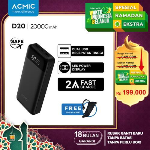 Foto Produk ACMIC D20 20000mAh Digital Display + 2A Fast Charge PowerBank - Putih dari ACMIC Official Store