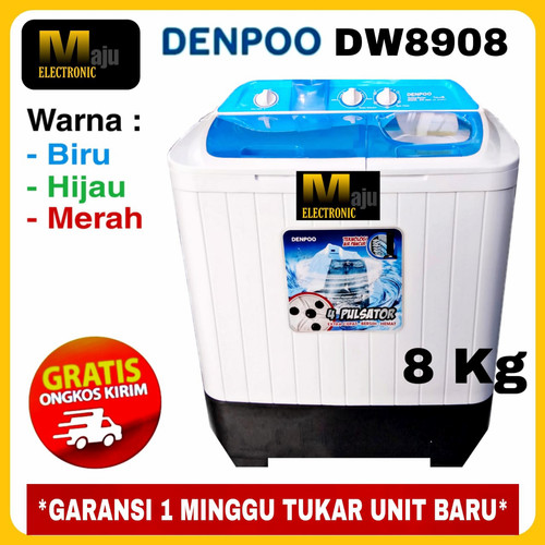 Foto Produk Mesin Cuci 2 Tabung DENPOO DW801 4 P 8KG - DW8908-BIRU dari Maju Electronic Store