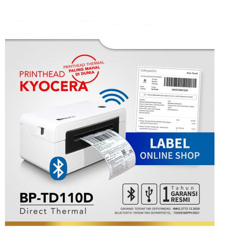 Foto Produk Printer BluePrint BP-TD110D USB + Bluetooth Barcode Thermal Blue Print dari PojokITcom Pusat IT Comp