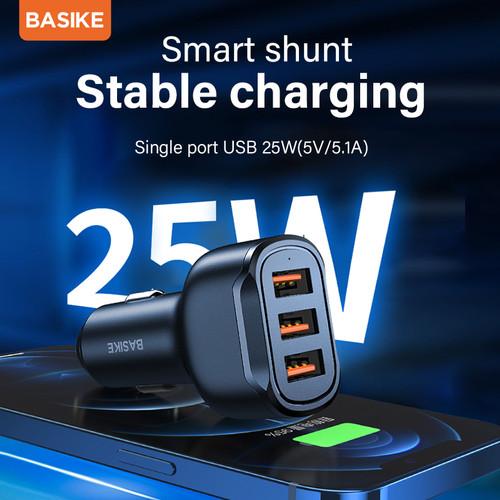 Foto Produk BASIKE 25W Car Charger Mobil Fast Charging Mobil 3 Keluaran USB - Hitam dari Basike Official Store