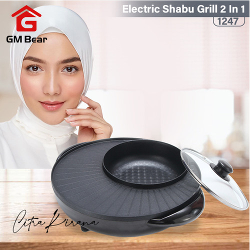 Foto Produk GM Bear Pangangan Hot Pot Shabu Elektrik 1247 -Blade Hot Pot Grill BBQ dari GM Bear