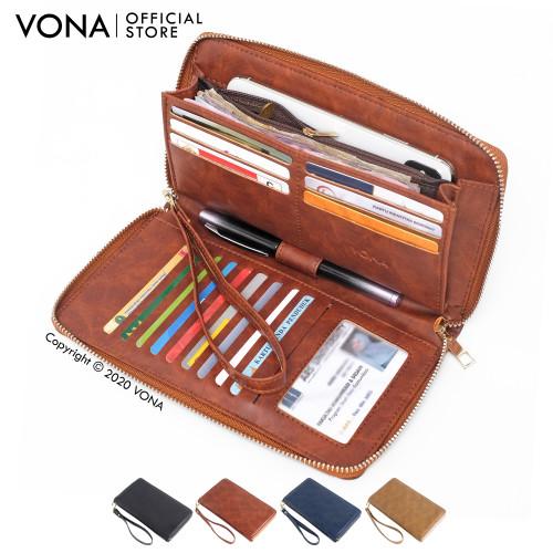 Foto Produk VONA Dompet Wanita Lipat Dua Panjang Bahan Kulit Sintetis - MOZA - Tan dari VONA
