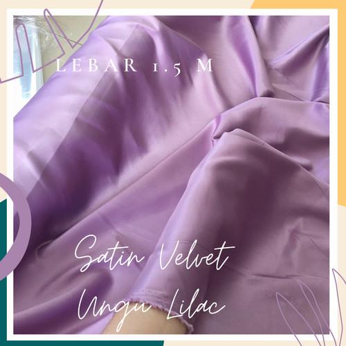 Foto Produk Kain Satin Velvet Warna Ungu Lilac dari queenken