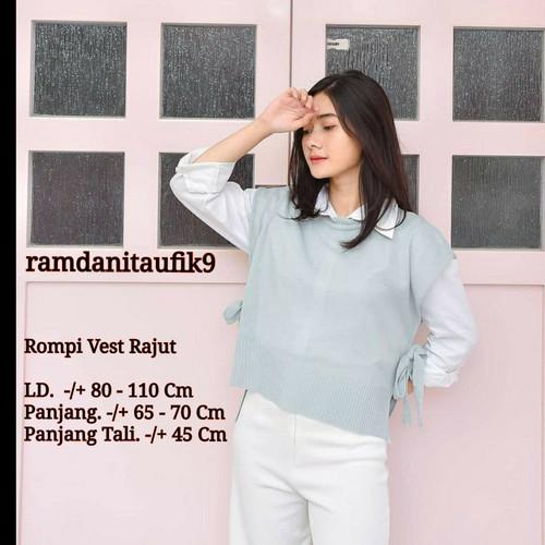 Foto Produk Rompi Rajut Rompi Tali Wanita Polos Vest Knit Outer - abu muda dari ramdanitaufik9