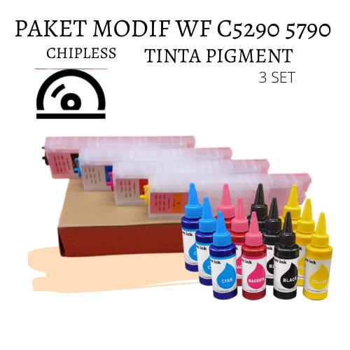 Foto Produk PAKET MODIF CHIPLESS DAN TINTA PIGMENT EPSON WF C5290 C5790 5290 5790 dari Wirama Refill Center