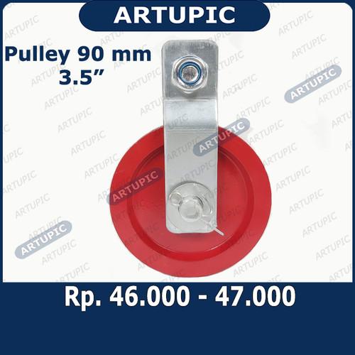 "Foto Produk Pulley Katrol BESI 90 mm 3.5 Inch Puli Kerekan Katrol BESI 90 mm 3.5"" dari ArtupicPeralatanPeternak"