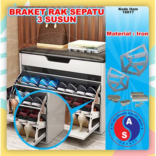 Foto Produk Bracket Fitting Rak Sepatu Putar 3 Susun / Bracket Shoes 3 Besi gray dari WINSTON-OK OFFICIAL STORE