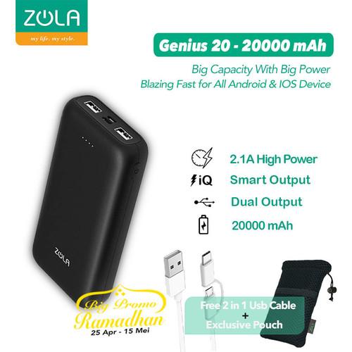 Foto Produk ZOLA Genius 20 Powerbank 20000mAh Fast Charging 2.1A - Hitam dari Zola Indonesia