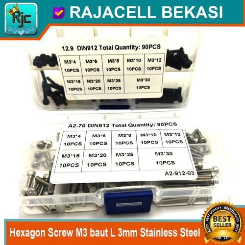 Foto Produk 90pcs Hexagon Screw M3 baut L 3mm Stainless Steel Alloy DIN912 12.9 dari RAJACELL BEKASI