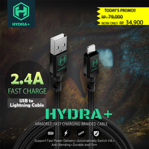 Foto Produk HYDRA+ Kabel Data USB to Lightning Cable iPhone 2.4A Fast Charging 1M - Abu-abu dari HYDRA+ Official Store