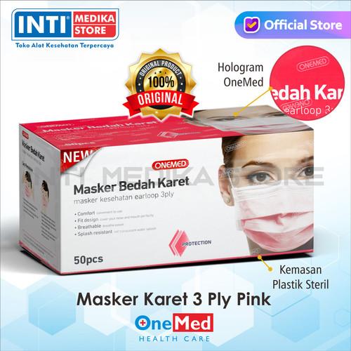 Foto Produk ONEMED - Masker 3 Ply Earloop Medis / Surgical Mask - Merah Muda dari INTI MEDIKA STORE
