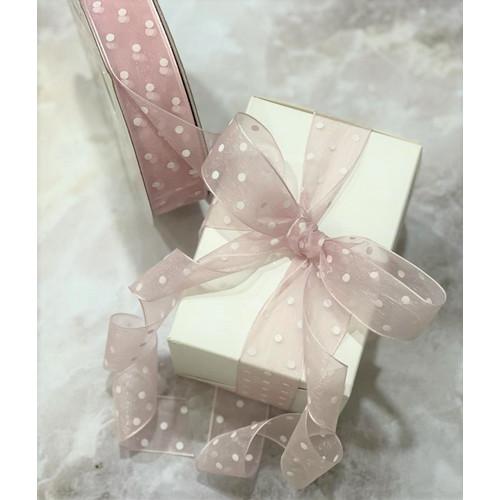 Foto Produk Pita Polkadot Pita Organdi IMPORT/ pita kado/ 1Mx2.5cm - Pink putih dari The Ribboneire