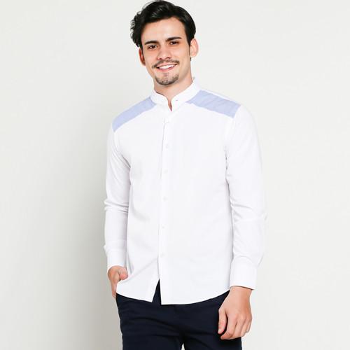 Foto Produk VM Baju Koko Putih Panjang Slimfit Kemeja Koko Muslim Putih Pria - M dari VM VanMarvell