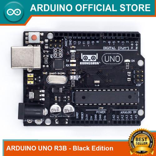 Foto Produk Arduino Uno R3B Black Edition Atmega328P DIP mega16u2 Original Desig - TANPA KABEL dari Arduino Official Store