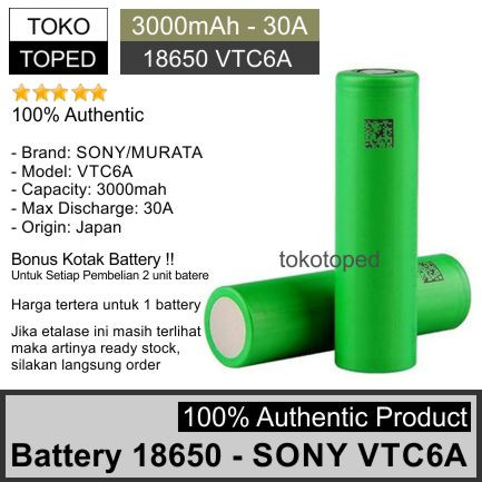 Foto Produk Authentic Battery 18650 Sony VTC6A 3000mAh | original baterai vtc 6A dari deKloud