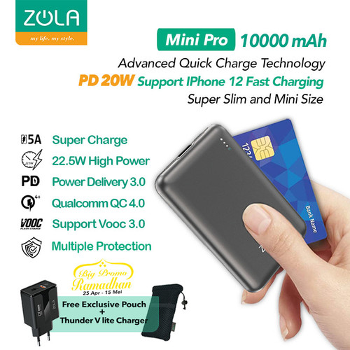 Foto Produk Zola Mini Pro Powerbank 10000mAh Fast Charge VOOC,PD 20W,QC4.0,PPS,SCP - Grey dari Zola Indonesia