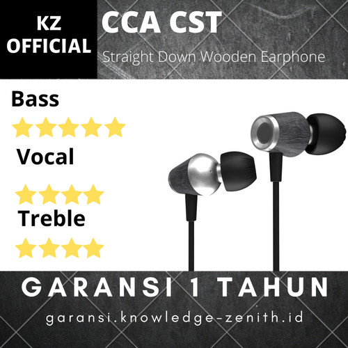 Foto Produk CCA CST Wooden Metal Straight Down Earphone with MIC - Abu-abu dari Knowledge Zenith Store